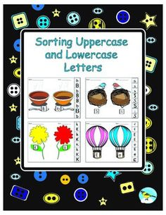 This product allows young learners to practice sorting uppercase and lowercase letters a-z.   Teachers may use these pages as centers or cut and paste activities.  13 fun sorting mats are provided: -baskets -soup bowls -toadstools -parachutes -hot air balloons -nests -trucks -cottages -beehive -trees -flowers -clouds -ice cream cones  big letters, small letters, capitals, alphabet, sorting