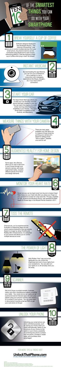 10 of the Smartest Things You Can Do With Your Smartphone #infographic  ... Follow me for more helpful info and loads of Social Media Marketing tips www.socialmediamamma.com