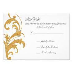 Gold Elegant Damask Wedding RSVP