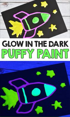 Make this easy Glow In The Dark Puffy Paint Recipe with just 3 simple ingredients! This homemade puffy paint is the BEST and really glows! Space Crafts For Kids, Arts And Crafts For Adults, Arts And Crafts House, Easy Arts And Crafts, Crafts For Seniors, Crafts For Boys, Arts And Crafts Projects, Toddler Crafts, Preschool Crafts