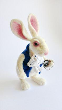 OOAK needle felted doll Wonderland White Rabbit Mr by FforFelt - Created by Bea of F For Felt