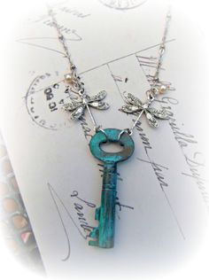 Aged Turquoise Key, Dragonflies & Pearls Necklace - The Supermums Craft Fair
