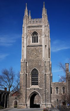 Soldiers' Tower is a bell and clock tower at the University of Toronto that commemorates members of the university who served in the World Wars. Designed by architects Henry Sproatt and Ernest Ross Rolph, the Gothic Revival tower stands at 143 feet (43.6 m) tall and houses a carillon of 51 bells. The University of Toronto is the only Canadian university with a functioning carillon.