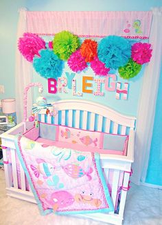 The curtains on the wll are nice, plus the theme would work with big sisters mermaid obsession . Baby Girl Carter's Under The Sea Nursery Theme Sea Nursery, Whale Nursery, Nursery Room, Nursery Decor, Nursery Ideas, Baby Room Themes, Baby Girl Nursery Themes, Baby Room Decor, Girl Nurseries