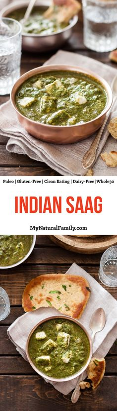 Indian Saag Recipe {Paleo Clean Eating Gluten-Free Dairy-Free Vegetarian - I love Indian food and have tried lots but chicken saag is my favorite by far. I always order it at my favorite Indian restaurant but I actually like this recipe be Clean Eating Recipes, Healthy Eating, Cooking Recipes, Healthy Recipes, Diet Recipes, Snacks Recipes, Dinner Healthy, Vegaterian Recipes, Clean Eating Vegetarian