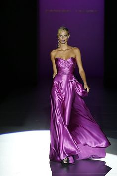 Purple satin gown by Gmomma