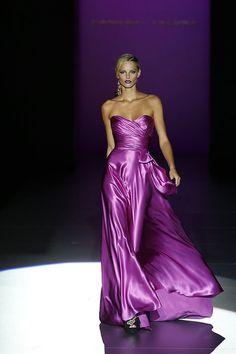 Purple satin gown by Gmomma