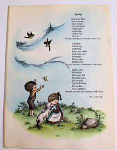 Vintage Spring illustration by Joan Walsh Anglund, with poem by William Blake Nursery Rymes, Nursery Rhymes Poems, Spring Poem, Joan Walsh, Poetry For Kids, Material Didático, Book Of Poems, Kids Poems, Preschool Songs