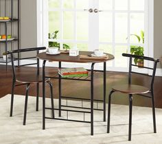 Dining Table Set, 3 Piece Bistro Kitchen Breakfast Nook Table and Chairs Bistro Table Set, 3 Piece Bistro Set, Bistro Chairs, Patio Chairs, Table And Chairs, A Table, Dining Table, Outdoor Dining, Dining Area