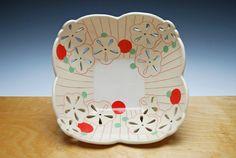 Large pierced fruit bowl in Ivory w. Red & by KiefferCeramics