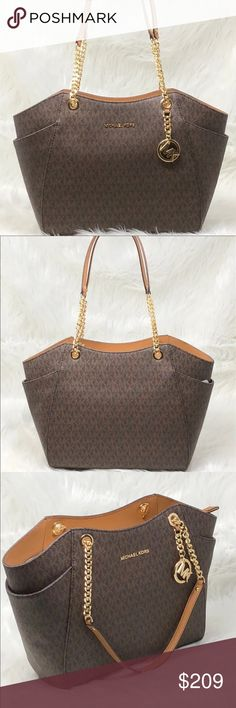 a268761beeb8 Nwt Michael Kors Jet Set travel Large chain Imported Saffiano Leather with  matching trim; Top