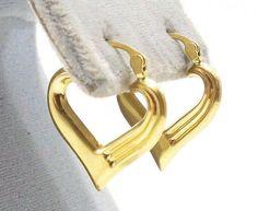 14k Solid Gold Earrings Heart Shaped Hoops Love Gift Sweetheart Free Shipping #Hoop
