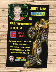 Transformers Rescue Bots Birthday Party Invitation- Printable