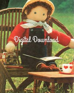 Kid Size Boy & Girl Knitted Doll Pattern Rag by BubbleGumInTheMail