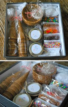 Basket Gifts : diy ice cream sundae kit- my sweet friend Schmeltzer Anderson would love Fundraiser Baskets, Raffle Baskets, Gift Baskets, Diy Christmas Gifts For Kids, Gifts For Family, Homemade Gifts, Diy Gifts, Silent Auction Baskets, Diy Ice Cream
