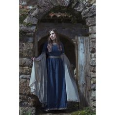 Blue Medieval Dress Celtic gown elven dress long sleeves ($149) ❤ liked on Polyvore featuring dresses, long chiffon dress, long sleeve embellished dress, blue long sleeve dress, sleeved dresses and long blue dress