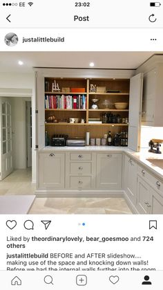 hidden storage for cookbooks extra appliances Kitchen Larder, Kitchen Cupboards, New Kitchen, Kitchen Storage, Kitchen Dining, Larder Cupboard, Kitchen Appliances, Home Decor Kitchen, Kitchen Interior