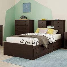 Help your child stay organized and complete his or her room in transitional style with the South Shore Little Smileys Twin Bookcase Storage Bed . Twin Storage Bed, Twin Bunk Beds, Bedroom Storage, Kids Bedroom Furniture, Furniture Making, Captains Bed, Bed Dimensions, Bed With Drawers, Bookcase Storage
