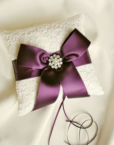 Ivory and Purple Ring Bearer Pillow | Alencon Lace with Satin Sash and Rhinestone Brooch Detail by weddingsandsuch, $47.00