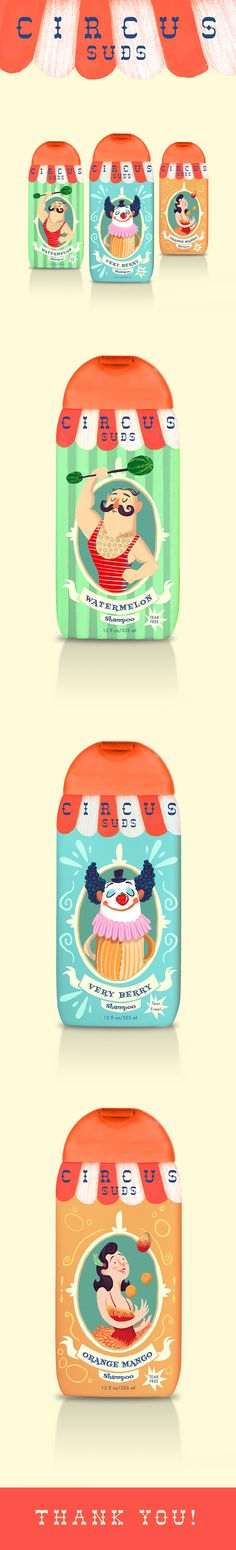 """""""Circus Suds"""" is a children's soap brand concept which was used as an exercise…"""