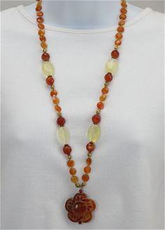 Carnelian flower pendant necklace,                       orange necklace, lemon quartz, long ethnic necklace, carved pendant, brass beads