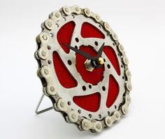 recycled bike cog clock steampunk clock bike desk clock by tread u0026 pedals