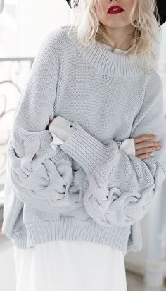 Knitting Patterns Sweaters Jaelle Knitted Sweater in Sky Blue Handgestrickte Pullover, Hand Knitted Sweaters, Cotton Sweater, Women's Sweaters, Knitting Sweaters, Knitwear Fashion, Pulls, Fashion Outfits, Fashion Edgy
