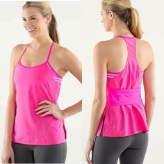 Lululemon Amped Up Hot Pink Tank Size 2 Like-new: Lululemon No Limits Hot Pink Workout tank with striped built in bra, size 2. Bra is visible on back and sides. Please be aware of your size in Lululemon before purchasing. Happy to answer any questions, post more photos, bundle, and entertain offers. Thanks for looking! :) lululemon athletica Tops Tank Tops
