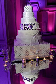Kordell & Porsha Stewart's stunning crystal mosaic and quilted wedding cake. Wedding by Tiffany Cook Events