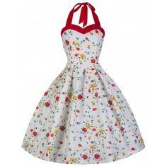 Lindy Bop Retro Vintage 50s Carola Black  Spot Halter Neck Dress 8 to 26