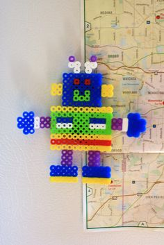 Friendly Robot Perler Bead Magnet