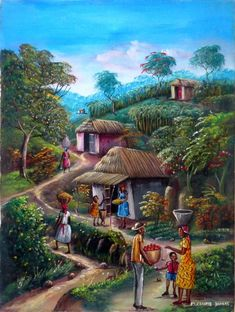 Here are a few of my pictures from my cruise through the Caribbean. Village Scene Drawing, Art Village, Indian Village, Scenery Paintings, Indian Art Paintings, Village Photography, Art Photography, Landscape Art, Landscape Paintings