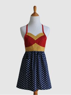 The WONDER HERO Woman's Full Super Hero Apron - $35.00, via Etsy.