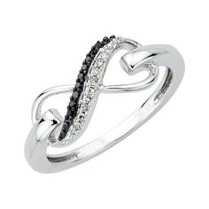 Carbonado ♦♦♦ » Two Row Infinity Black and White Diamond Ring in Sterling Silver…