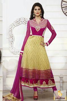 Pavitraa Beige and Pink #Floor #Length #AnarkaliSalwar Suits