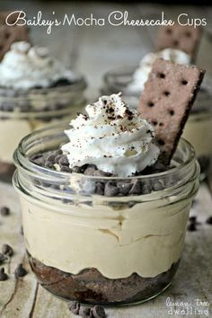 Baileys Mocha Cheesecake Cups are so rich and creamy! These no-bake cheesecake cups are made with irish cream, coffee and chocolate crust. Simple and so sinful!