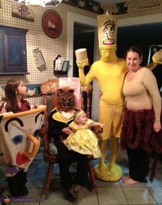 Jordan: The whole family dressed up as characters from Beauty and the Beast. Lumiere was by far the most challenging. Spent $28 on yellow man suit. Made candle head piece out...
