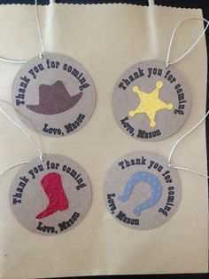 Cowboy Thank You Tag for Goody Bag for Cowboy or Cowgirl Birthday Party or Baby Shower, Set of 8, $8.00