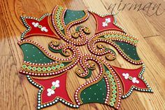 Rangoli Kundan - Bollywood inspired, Acrylic floor art, Indian Wedding decor, Rangoli