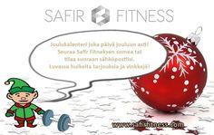 Hui! Tonttuja liikkuu nyt myös Safir Fitneksellä!    Joulu tulee nopeammin, kun katsoo joka päivä Safir Fitneksen joulukalenterin, sanoo meidän treeni-Tonttu!     Joka päivä siis jouluun asti luvassa tarjouksia tuotteistamme sekä hyviä vinkkejä hyvinvointiin. Kannattaa siis huomisesta alkaen seurata meidän somea! Voit myös tilata joulukalenterin suoraan sähköpostiisi tilaamalla uutiskirjeemme nettisivujemme alalaidasta http://safirfitness.com/. Tätä ei kannata missata! ;)