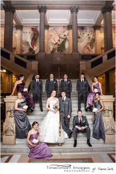 Bridal Party Formal on Steps, large bridal party pose, Pittsburgh Carnegie Museum Wedding, gray and purple bridesmaid dresses, Pittsburgh Wedding, photo by: Francine Smith, TimeSmart Images  | followpics.co