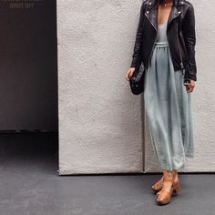 Love the combo of feminine and edgy pieces