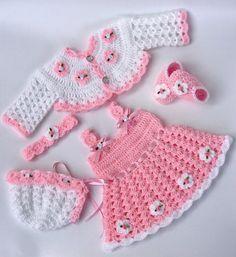 Vestido del bebé vestido rosa bebé vestido del ganchillo de