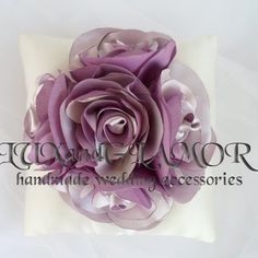 Cream ivory satin ring bearer pillow with satin roses - satin wedding pillow