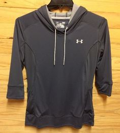 Womens Under Armour Grey Hoodie Fitted Workout Shirt Size L NWT #UnderArmour #ShirtsTops