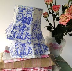 Periwinkle toile lampshade