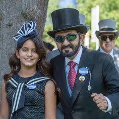 Al Jalila bint Mohammed bin Rashid Al Maktoum y su padre, Mohammed bin Rashid bin Saeed Al Maktoum, Royal Ascot, 20/06/2017.  Vía: khalifasaeed