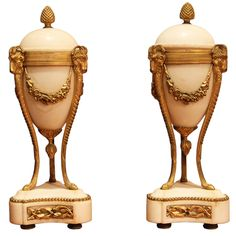 Napoleon III Pair of Gilt Bronze and Alabaster Cassolettes   From a unique collection of antique and modern urns at https://www.1stdibs.com/furniture/building-garden/urns/