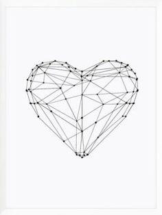Love heart geometric polygon design vector illustration Valentine& day gift for girlfriend Mini Art Print by themotivatedtype, Herz Tattoo Klein, Stylo 3d, Heart Poster, Polygon Art, Valentine Day Love, Valentines Food, Typography Prints, Trendy Tattoos, Love Heart