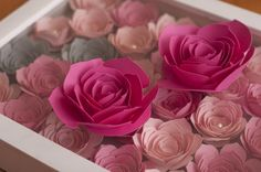 Freebie - Three Rolled Roses, and shadowbox